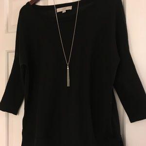 LOFT Black 3/4 Sleeve Sweater